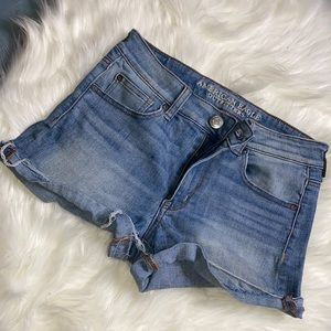stretch hi rise shortie shorts